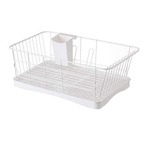 Hoge kwaliteit kunststof keukengootsteen afvoerlade, multifunctionele creatieve wastafel afvoerrek bestek opslag rack - L4 Kleur: wit