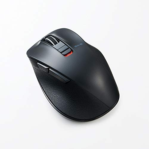 ELECOM Dr.EXG Bluetooth Mouse 極‐Kiwami- Mouse Extreme Ergonomic Design Less Noise BlueLED Medium Size 5 Button Black (M-XGM10BBSBK-US)