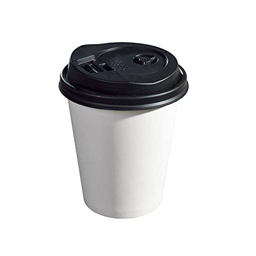 Tazas de café desechables de 12 oz, taza de café para llevar, 500 tazas y 500 párpados, doble uso dual frío y frío, para tiendas de té de leche, tiendas de postres, restaurantes de comida rápida