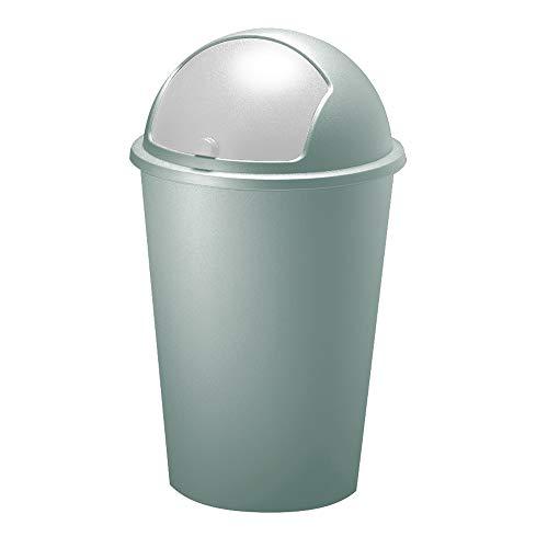 Deuba Abfalleimer 50L mit Schiebedeckel 68cm x 40cm grün - Mülleimer Müllbehälter Abfallbehälter I Büro Küche Bad
