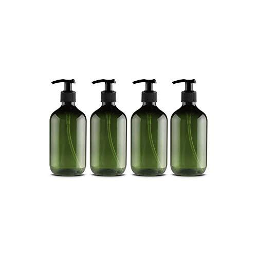 Leikance Botellas vacías de gel de ducha, 300 ml de botellas de bomba recargables para dispensar lociones champús, 4 unidades, Green (Verde) - SB-122