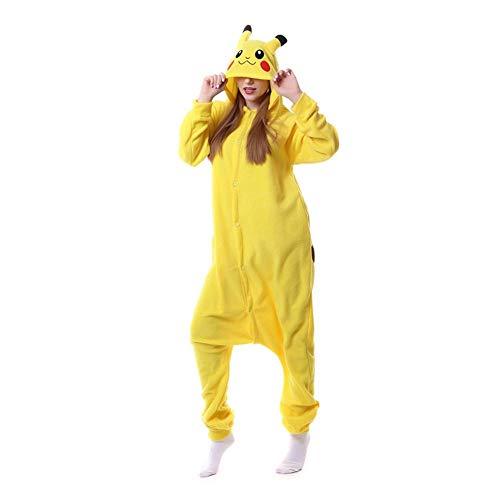 Schlafanzug Tier Schwarz Katze Kigurumis Onesie Männer Frauen Pyjama Insgesamt Erwachsene Nachtwäsche Cartoon Karneval Jumpsuit-Pikachu_XL