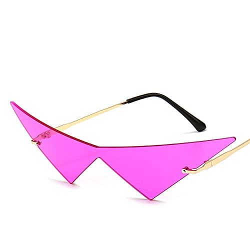 YHKF Gafas De Sol con Forma De Ojo De Gato para Mujer, Sin Montura, con Lente Triangular, Gafas De Moda para Fiestas, Sombras para Mujer-Gold_Pink