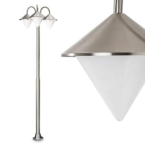 Außenleuchte Kasan, Kandelaber aus Edelstahl in modernem Design, mit Lampenschirmen aus Kunststoff, 3-armige Wegeleuchte 200 cm, Gartenlampe mit E27-Fassungen, je max. 60 Watt, IP44