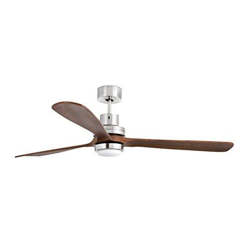 Faro Barcelona Lantau 33463–Ventilator ohne Licht (Glühbirne enthalten), Korpus Stahl und Rotorblätter aus natürlichem Holz Nussbaum dunkel