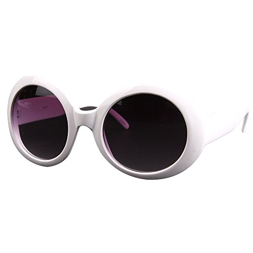 Pop Fashionwear Womens Fashion Circle Round Jackie O Bold Chic Sunglasses P547 (White GradientSmoke)