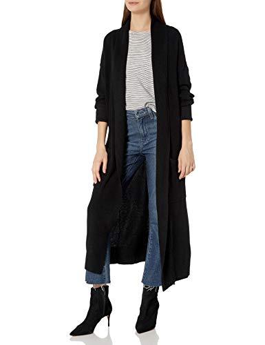 Cable Stitch Women's Open Placket Long Cardigan Medium Black