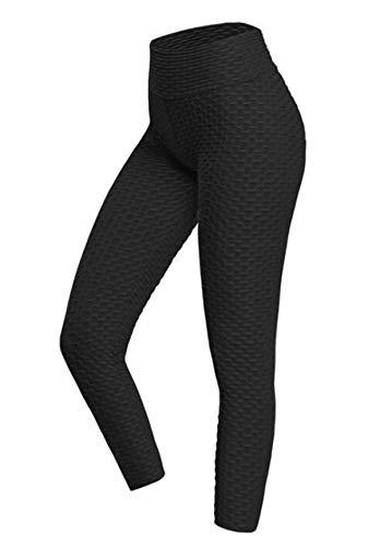 ASKSA Damen Sporthose Anti-Cellulite Compression Leggings Slim Fit Butt Lift Elasticated Trousers Jogginghose(A Schwarz,M)
