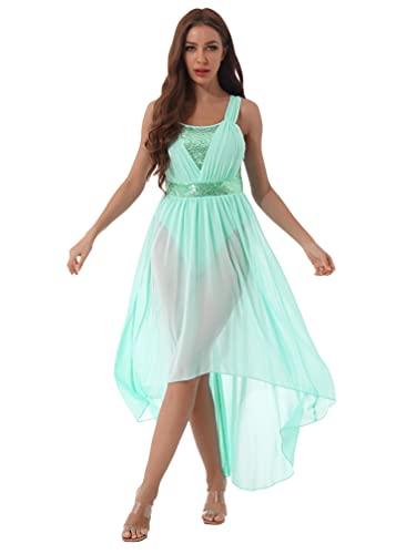 ranrann Vestido Tirantes de Ballet Gasa para Mujer Irregular Vestido Largo de Danza Lrica Contempornea Traje Baile de Saln Latino Tango Dancewear Menta Verde XL