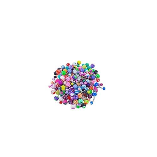 NIDONE 60pcs Assortiti Piercing Palline Colorate della Linguetta Barre di Pulsanti Professionale Gioielli Body Piercing Multi Belly Uso degli Anelli di Colore Misto