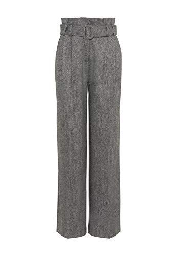 HALLHUBER Paperbag-Hose aus Fischgrät-Tweed weit geschnittene Hosenbeine Mittelgrau, 42