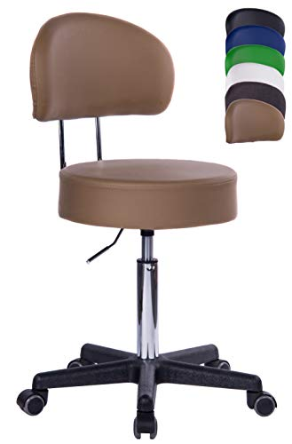 1stuff® Profi Rollhocker Rollstuhl Squash XL - 40cm Sitzbreite - Sitzhöhe bis ca. 73cm - Arzthocker Arbeitshocker Bürohocker Drehhocker (Lederimitat braun - Lehne Bigback)