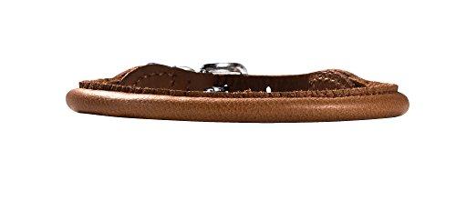 HUNTER ROUND & SOFT ELK PETIT Halsband für kleine Hunde, Leder, weich, rund, fellschonend, 32 (XS), cognac