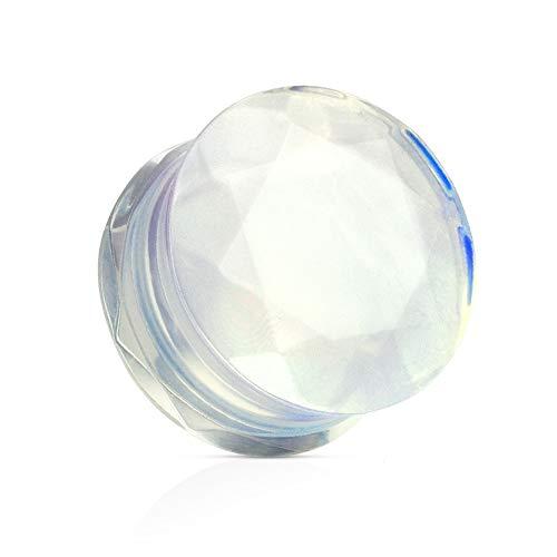 Treuheld® | Stein Plug - Kristall - OPALITH - leicht milchig transparent (hellblau-rosa schimmernd) - 7 Größen: 5-16mm - Double Flare - Piercing Plug aus Opal Stein 14 mm