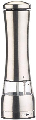 Rosenstein & Söhne Eléctrico Molino de sal: Molinillo de sal y pimienta eléctrico, Amoladora de cerámica, Acero inoxidable, LED, 21,5cm (Juegos de molinillo de sal y...