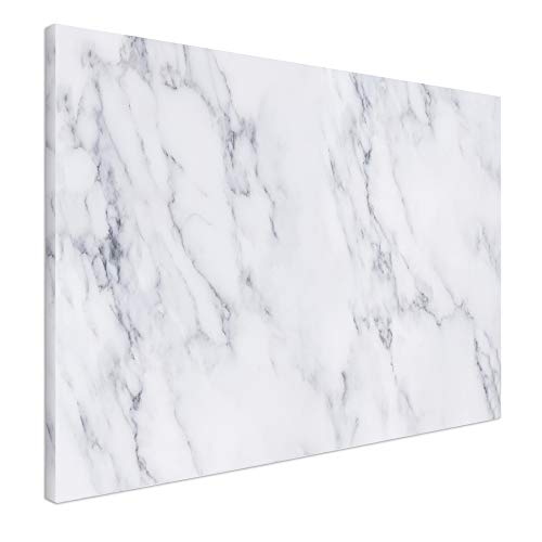 Navaris Magnetic Dry Erase Board - 24 x 36 inches Decorative White Board for Wall with Printed Design, Includes 5 Magnets and Marker - White Marble