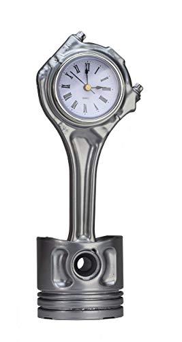 ROOGU Bureauklok van Gerecycled Auto-onderdeel Cilinder Zuiger Chroom Zilver