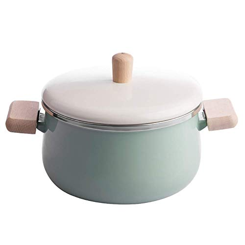 WZF Enameled casserole with wooden handle round for milk Supplements for baby food Pot Green pot 3.38 Quarter