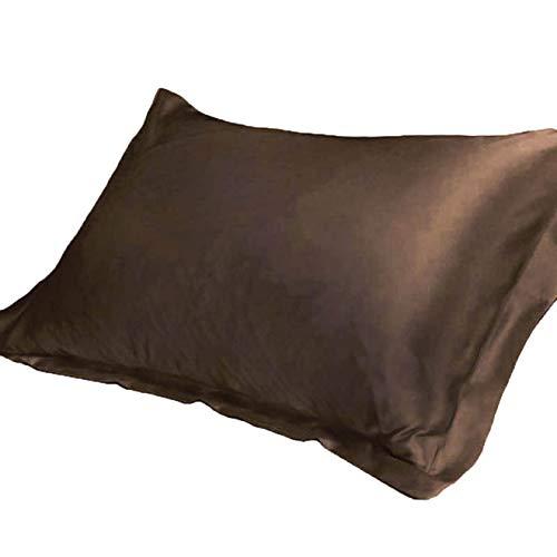 KEPOHK Funda de Almohada de satén de Seda cómoda 48x74cm para Cama Individual Fundas de Almohada coffee48x74cm