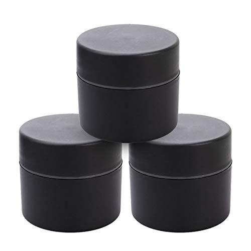 Frcolor Pot de pot de crème vide de récipient de pot de voyage de double couche de 50g pour le maquillage (50g, noir)