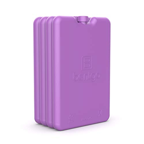 Bentgo Ice Lunch Chillers - Ultra-Thin Ice Packs Perfect for Everyday Use in Lunch Bags, Lunch Boxes and Coolers - 4 Pack (Purple)