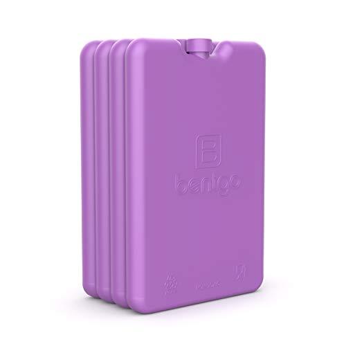 Bentgo Lot de 4 refroidisseurs à glace ultra-fins pour une utilisation quotidienne dans les sacs à déjeuner, les boîtes à déjeuner et les refroidisseurs Violet