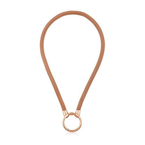 Collar TOUS Mesh de plata vermeil rosa con colgante anilla HOLD, Largo: 42 cm, Anilla: 2,8 cm