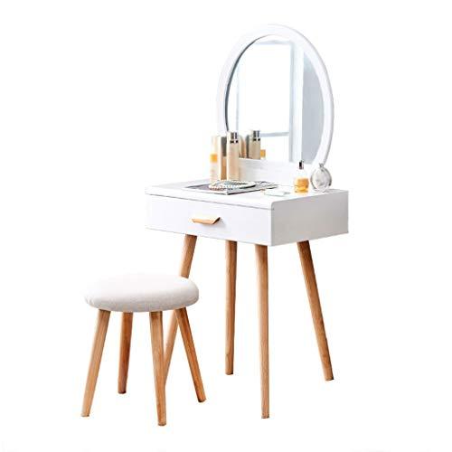 Toaletka Biurko do makijażu Zestaw lusterka stołowego damskiego z okrągłymi szynami lustrzanymi Duże szuflady i stołki tapicerowane (białe) Meble komodowe