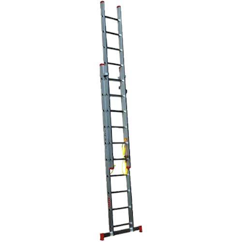Homelux 825027 Escalera Aluminio Doble, 4 + 4 m, 2 x 15 Peldaños, 17.25 kg