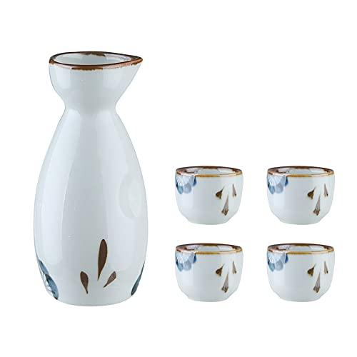 Rvlaugoaa 5 StüCk Japanisches Sake-Set, Traditionelles Keramik-Sake-Becher-Set Mit 1 Tokkuri-Flasche Und 4 Handbemalten Ochoko-Bechern Glasurkeramik