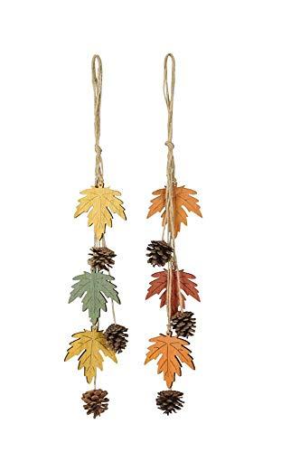 Nostalgic Garten 2 x Anhänger Herbst Deko Holz Blatt und Tannenzapfen (Girlande)