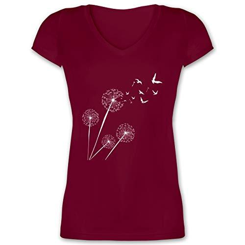 Statement - Pusteblume Vögel - M - Bordeauxrot - Shirt Damen Fairtrade - XO1525 - Damen T-Shirt mit V-Ausschnitt