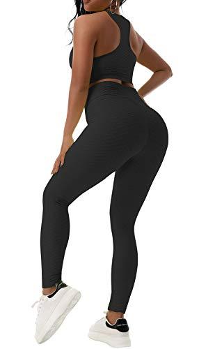 Beelu Damen Gym Leggings 2 Teile Sporthose mit Sport BH Hohe Taille Push Up Fitnesshose