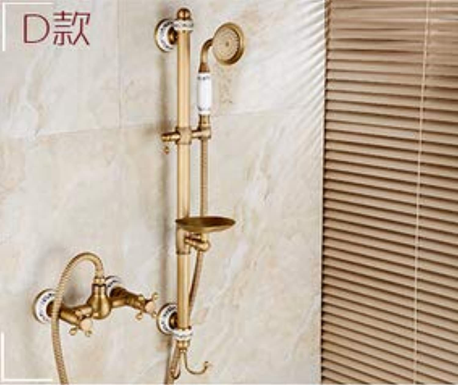 Fashion top high quality total Brass Gold Europe style wall mounted Bathtub Shower Set bathroom shower set faucet tap mixer,Burgundy