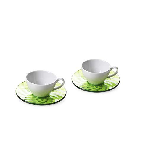 Omada Design 2 tazze da caffè in porcellana e da pratici piattini colorati, in acrilico ad effetto diamante, Collezione Diamond