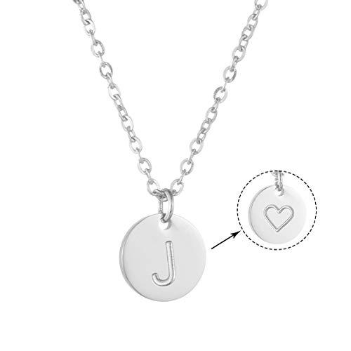 AFSTALR Colgantes Iniciales Mujer Plata Collar Letras J con Corazón Nombre Redondo Personalizado Letras Joyería Regalo de Cumpleaños