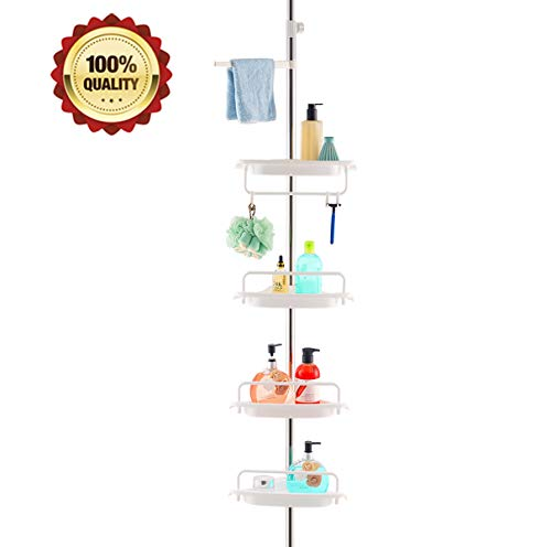 HomeHelper Tension Corner Shower Caddy, Rustproof Stainless Steel, 4 Positionable Shelves, Height Adjustable Among 4.7Ft to 9.3Ft