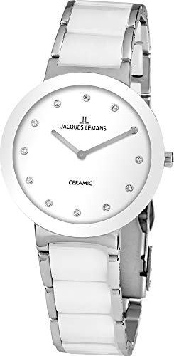 Jacques Lemans Damen-Uhren Analog Quarz One Size Weiß 32016865