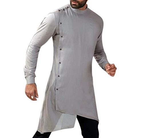 Herren Muslim Langarm Thobe Lose Kaftan Dubai Kleidung Robe Kleid Lang Kurta