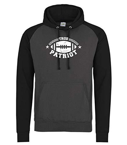 Shirt Happenz True Patriot Any Given Sunday Pats Football New England Super Bowl Premium Baseball Hoodie Pulli Kapuzenpullover, Größe:XL, Farbe:Dunkelgrau Schwarz JH009