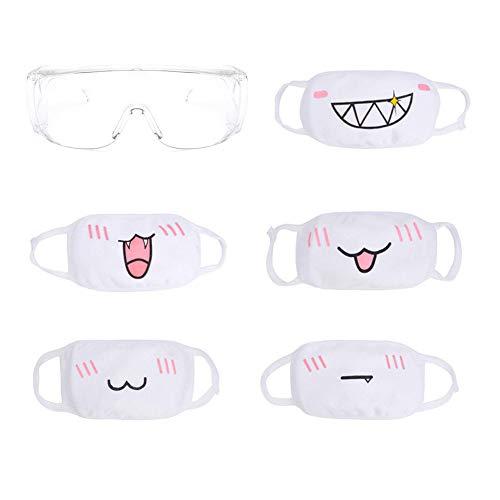 HILINE - Set di maschere e occhialini, unisex, in cotone, anti-polvere, confezione da 5 pezzi, motivo: Anime.
