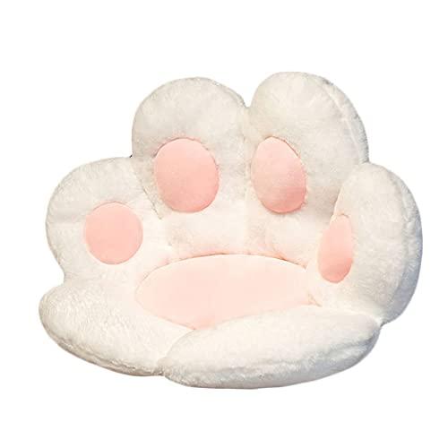 猫の肉球クッション かわいいクッション 猫の肉球の形 レイジースーザン クマの肉球 チェアクッション 暖かい フロアクッション レストランに適しています オフィスチェア 子供部屋 面白い 子供用ギフト (ホワイト)
