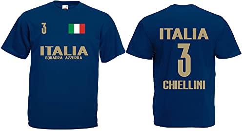 Italien-Italia Chiellini Herren T-Shirt EM 2020 Trikot Look Style Squadra Dunkelblau XXXL