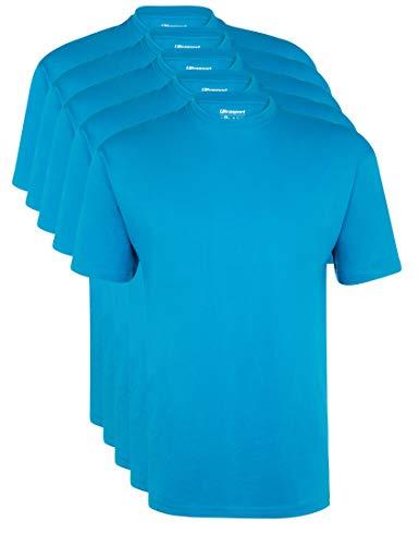 Ultrasport Herren Sport Freizeit T-Shirt mit Rundhalsausschnitt 5er Set, Blau, L