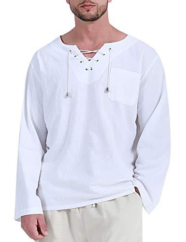 Fashonal Linen Shirts for Men Yoga Top Loose Cotton Long Sleeve Hippie Tee, White, XX-Large