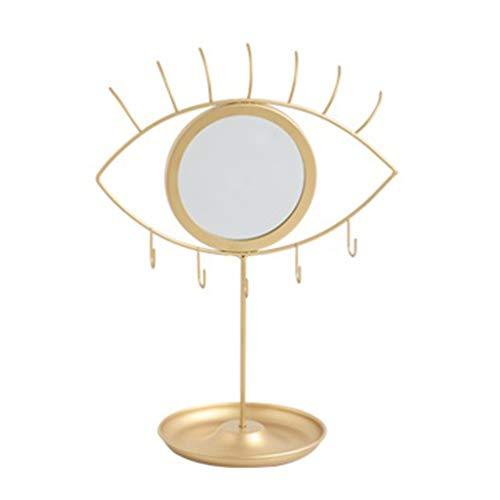 KERDEJAR Soporte de exhibición de joyería, Soporte de exhibición de joyería con Espejo de Ojo para Cadenas/Colgantes/Anillos/Pendientes/Relojes/Pulseras Bandeja de joyería Oro