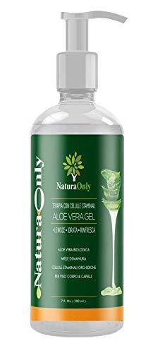 Natura only-gel organique d'aloe vera-hydratant visage et corps pour cuir chevelu sensible-réduit la visibilité des vergetures, apaise-soulage les coups de soleil, l'acné, l'eczéma et le psoriasis