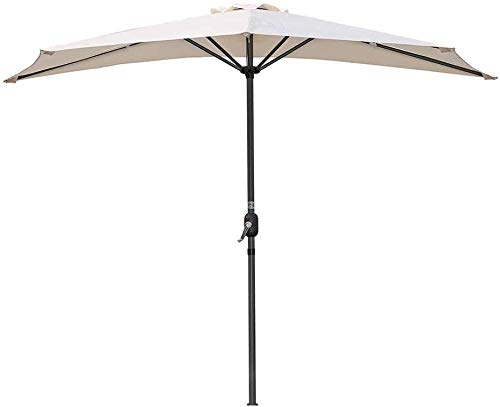 LHYLHY Semicircular Parasol Umbrella With CrankSunshade Semi-Round Round For Outside Patio Small Terrace (Color: Orange)