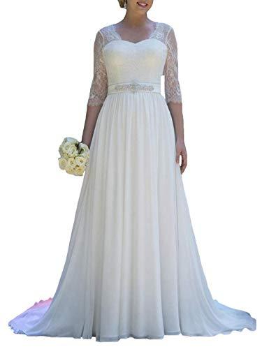 Brautkleid Hochzeitskleider Standesamt Lang Schleppe Damen Kurzarm Chiffon Spitze A Linie Weiß EUR42