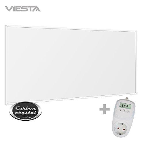 VIESTA F700 Panneau de Chauffage Infrarouge Carbon Crystal (dernière technologie), chauffage mural ultra plat, blanc, 700 Watts + Thermostat VIESTA TH10